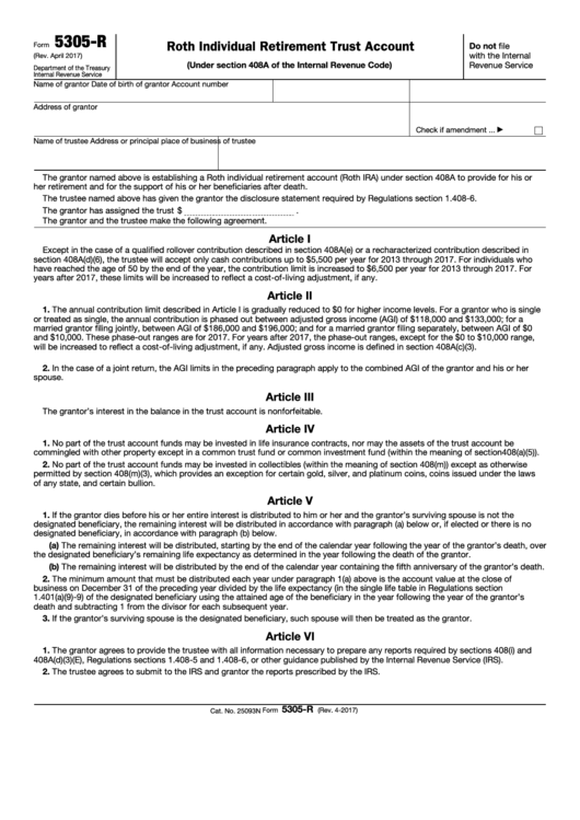 Fillable Form 5305-R - Roth Individual Retirement Trust Account Printable pdf