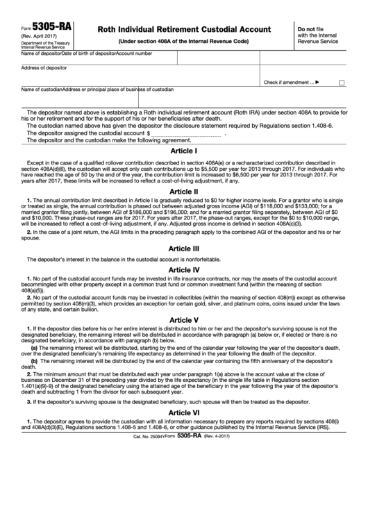 Fillable Form 5305-Ra - Roth Individual Retirement Custodial Account Printable pdf