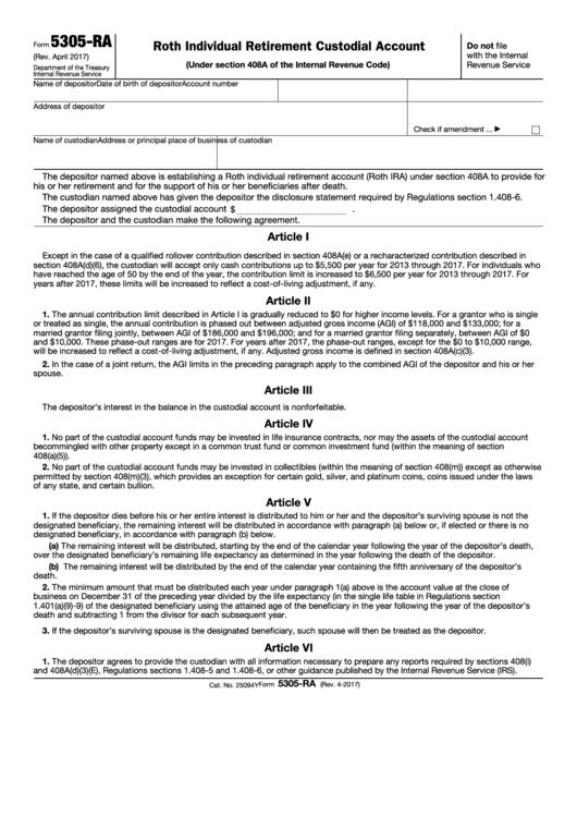 Fillable Form 5305-Ra - Roth Individual Retirement Custodial Account Printable pdf