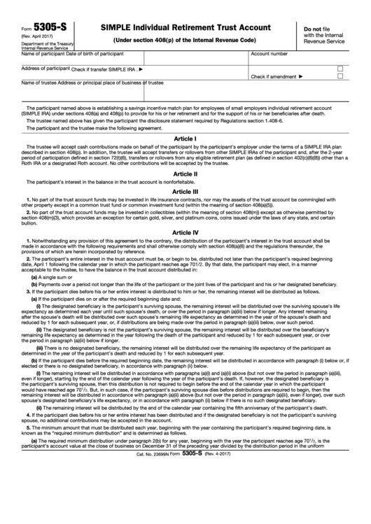 Fillable Form 5305-S - Simple Individual Retirement Trust Account Printable pdf