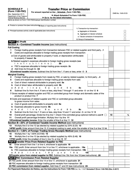 Fillable Schedule P (Form 1120-Fsc) - Transfer Price Or Commission Printable pdf