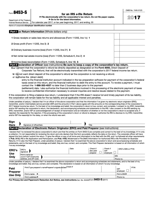 Fillable Form 8453-S - U.s. S Corporation Income Tax Declaration For An Irs E-File Return - 2017 Printable pdf