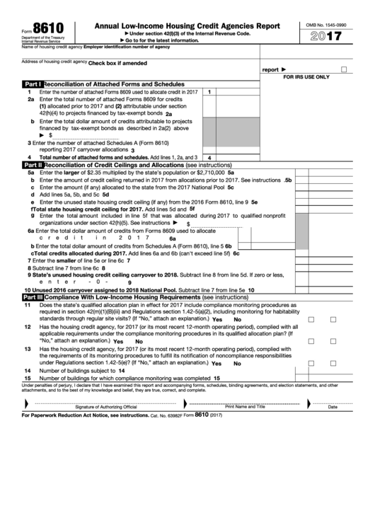 Fillable Form 8610 - Annual Low-Income Housing Credit Agencies Report - 2017 Printable pdf