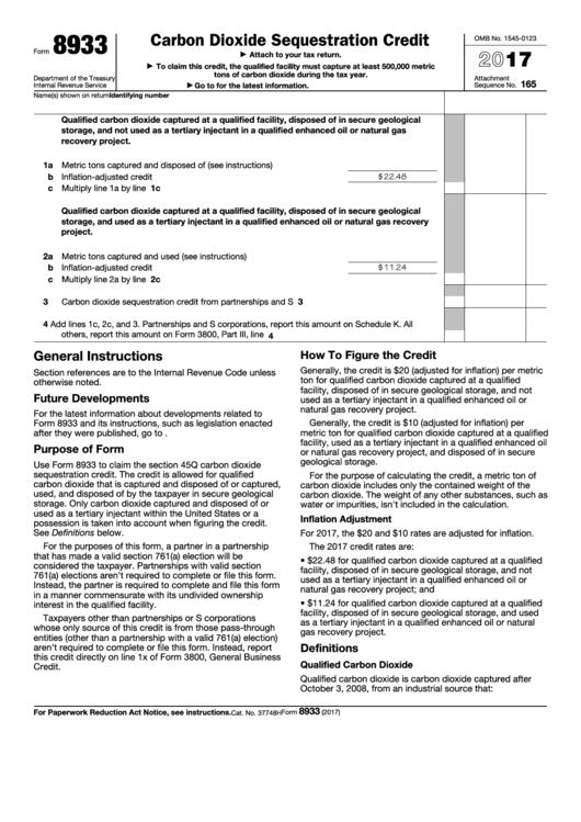 Fillable Form 8933 - Carbon Dioxide Sequestration Credit - 2017 Printable pdf