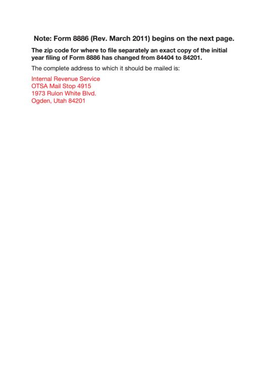 Fillable Form 8886 Reportable Transaction Disclosure Statement