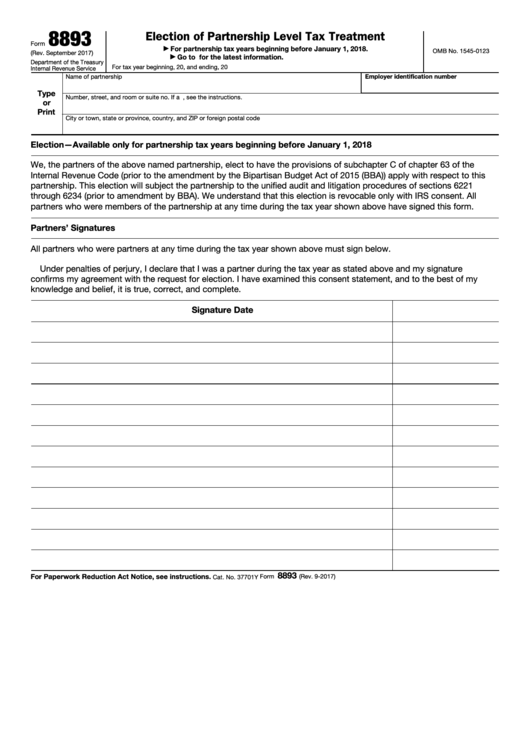 Fillable Form 8893 - Election Of Partnership Level Tax Treatment Printable pdf