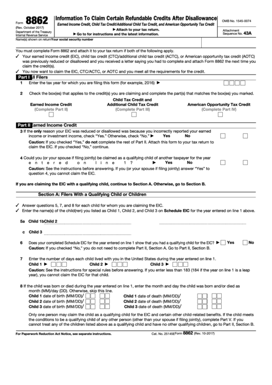 Form 8862 - Information To Claim Earned Income Credit After Disallowance