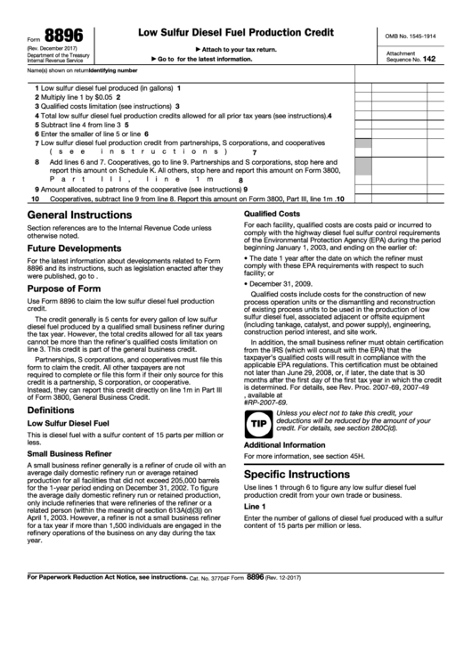 Fillable Form 8896 - Low Sulfur Diesel Fuel Production Credit Printable pdf