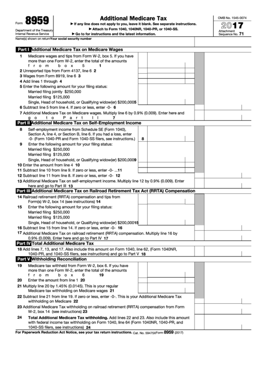 Top 9 Form 8959 Templates Free To Download In Pdf Format