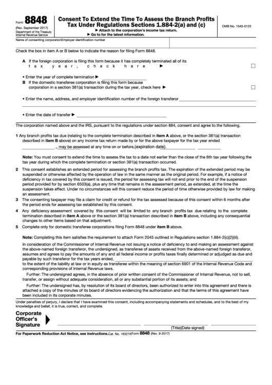 Fillable Form 8848 - Consent To Extend The Time To Assess The Branch Profits Tax Under Regulations Sections 1.884-2t(A) And (C) Printable pdf