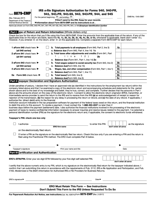 Fillable Form 8879-Emp - Irs E-File Signature Authorization For Forms 940, 940 (Pr), 941, 941 (Pr), 941-Ss, 943, 943 (Pr), 944, And 945 Printable pdf