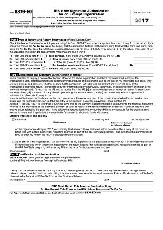 Fillable Form 8879 Eo Irs E File Signature Authorization For An