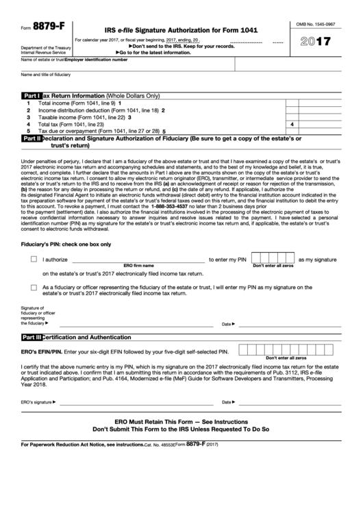 Fillable Form 8879 F Irs E File Signature Authorization For Form