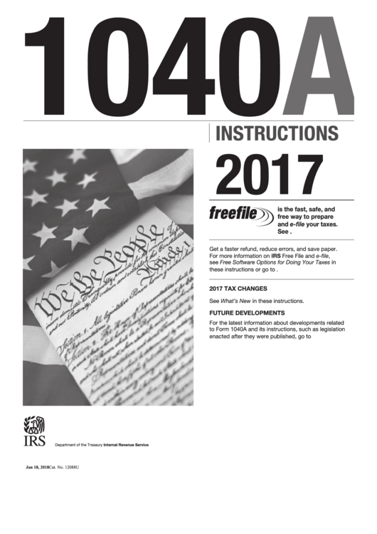 Instructions For Form 1040-A - U.s. Individual Income Tax Return - 2016 Printable pdf