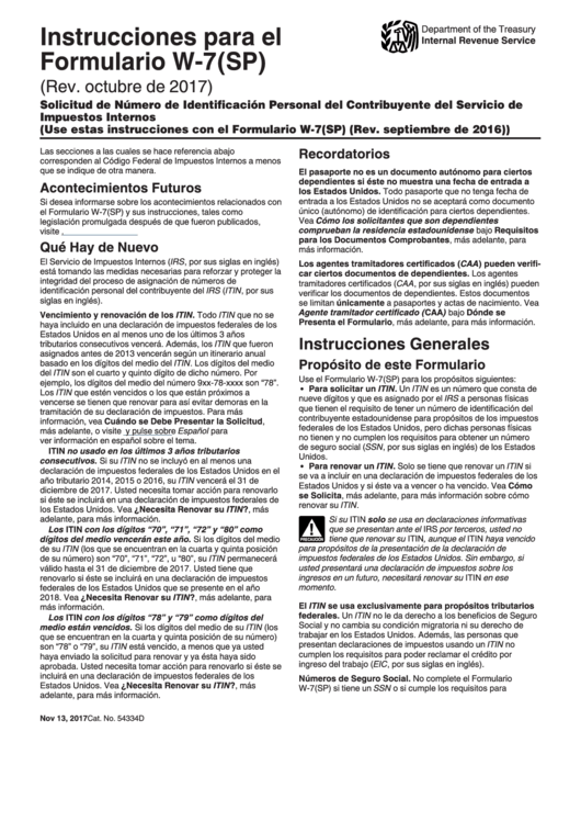 Instrucciones Para El Formulario W-7(Sp) - Solicitud De Numero De Identificacion Personal Del Contribuyente Del Servicio De Impuestos Internos Printable pdf