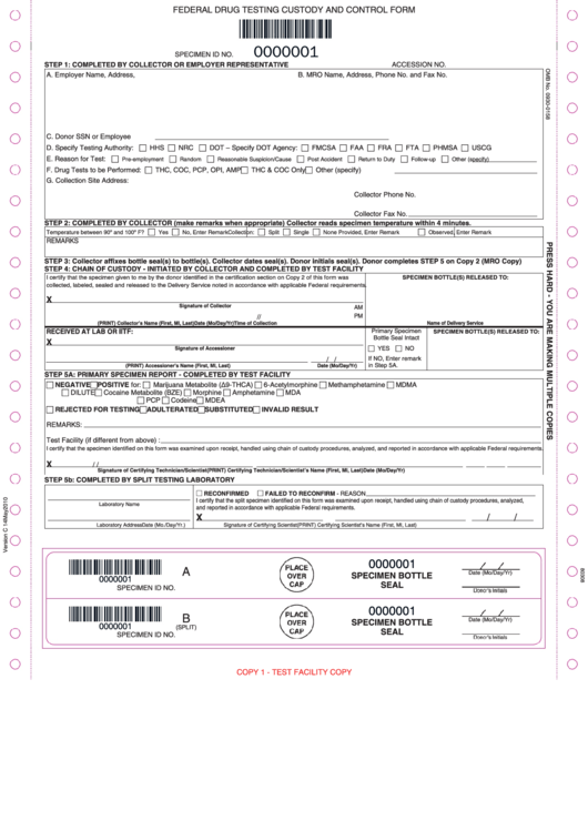 Federal Drug Testing Custody And Control Form