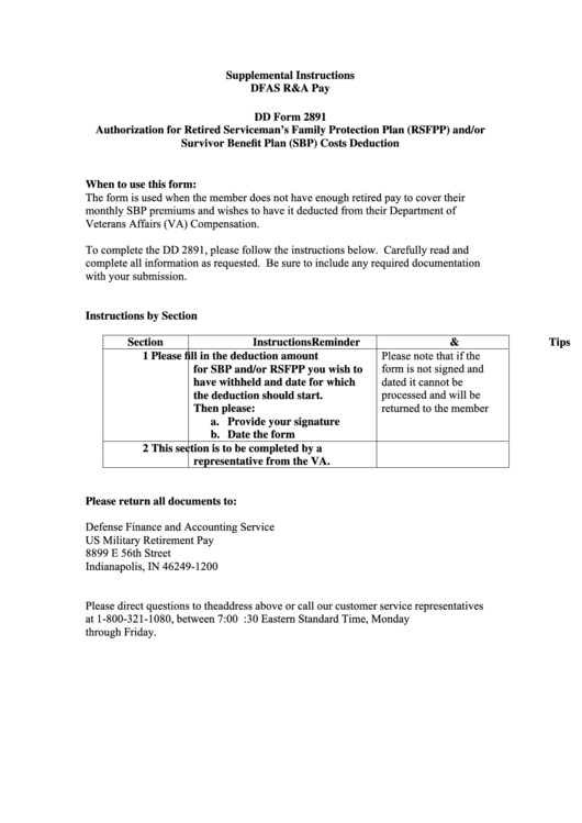 Dd Form 2891 - Authorization For Retired Serviceman