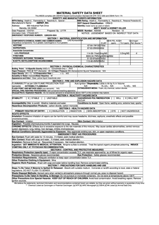Osha Form 174 - Material Safety Data Sheet - Misty Wasp & Hornet