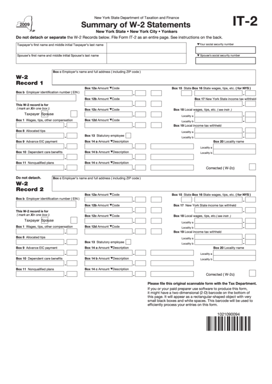 Form It-2 - Summary Of W-2 Statements - New York State Department Of Taxation