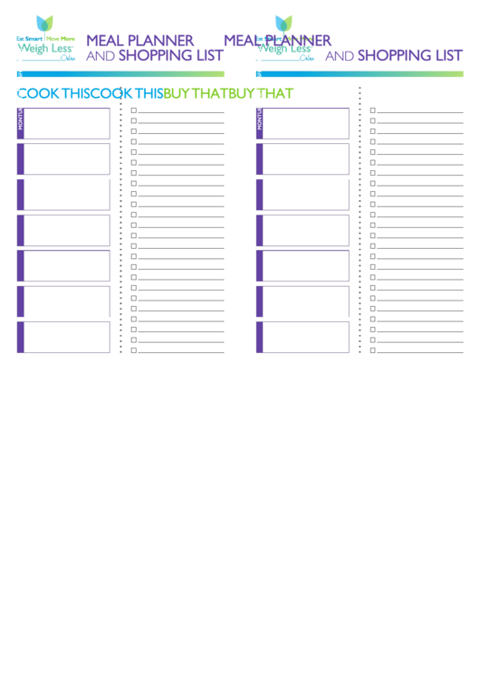 Week Meal Planner And Shopping List