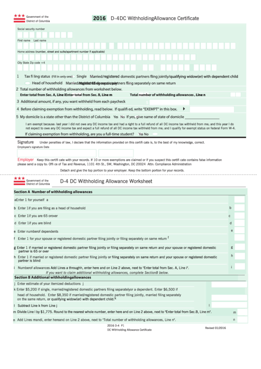 Form D-4 - Dc Withholding Allowance Certificate - 2016