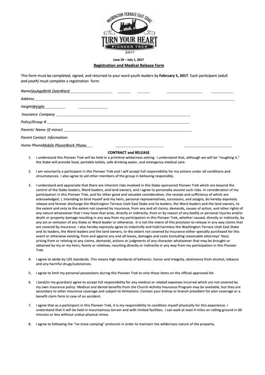 Registration And Medical Release Form