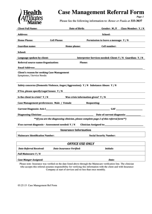 Release Of Liability Ca >> Case Management Referral Form printable pdf download