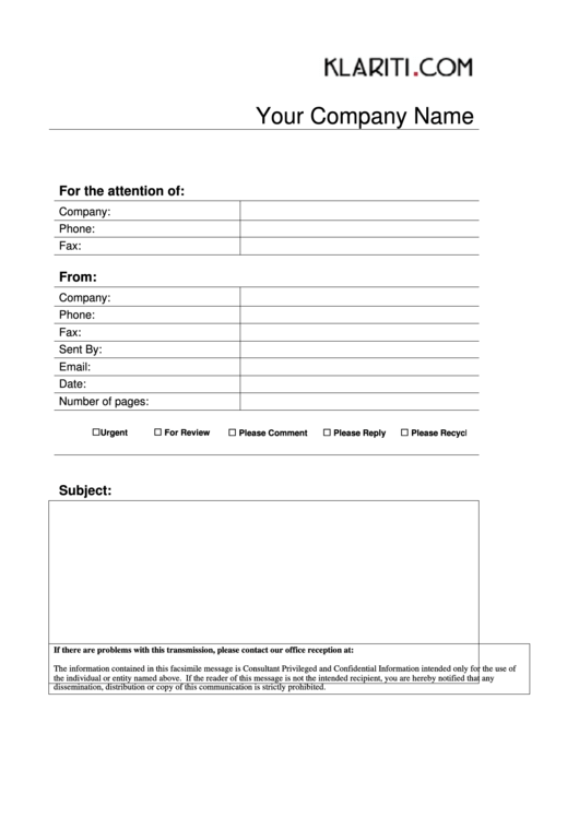 Fax Cover Sheet Template Printable pdf