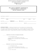 Annual Report And Renewal For Fraternal Companies - South Dakota Division Of Insurance - 2011