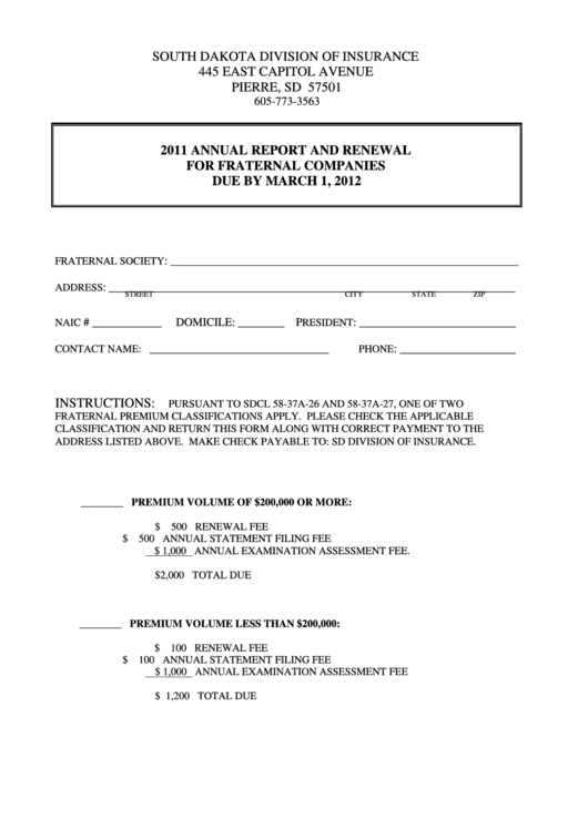 Annual Report And Renewal For Fraternal Companies - South Dakota Division Of Insurance - 2011 Printable pdf