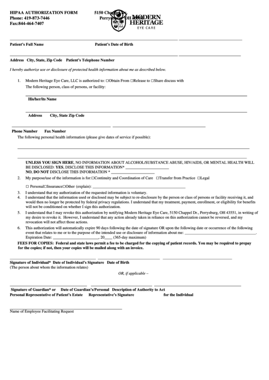 Hipaa Authorization Form Printable pdf