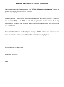 Hipaa Basic Training Acknowledgement Form Printable Pdf Download