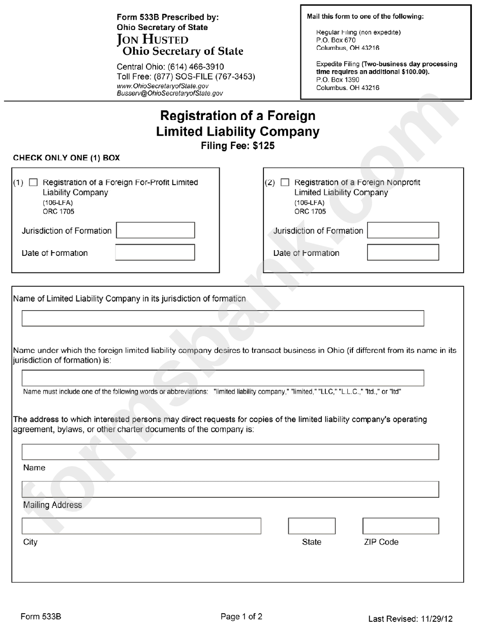 Form 533b - Registration Of A Foreign Limited Liability Company - Ohio Secretary Of State