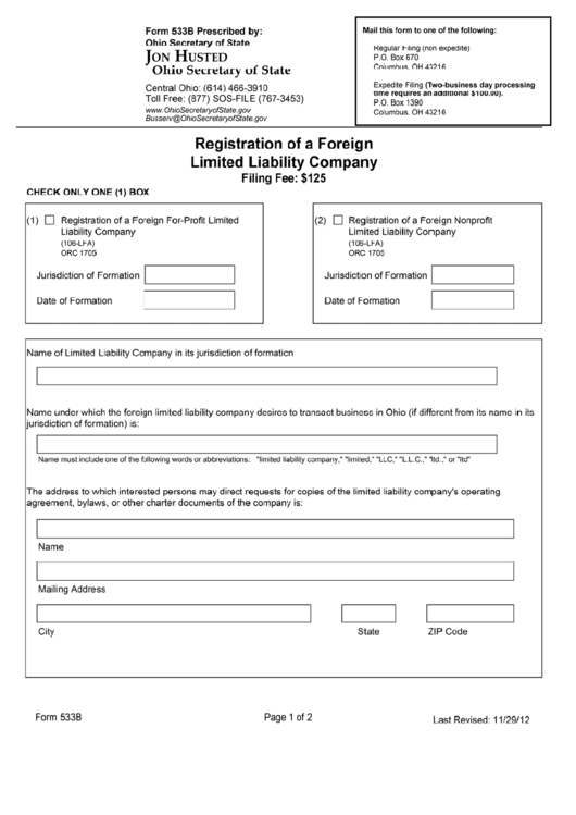 Form 533b - Registration Of A Foreign Limited Liability Company - Ohio Secretary Of State Printable pdf