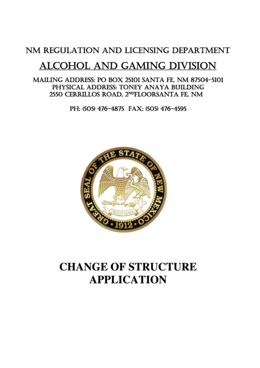 Change Of Structure Application - New Mexico Regulation And Licensing Department