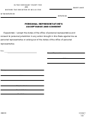 Form Rw1121 - Personal Representative's Acceptance And Consent