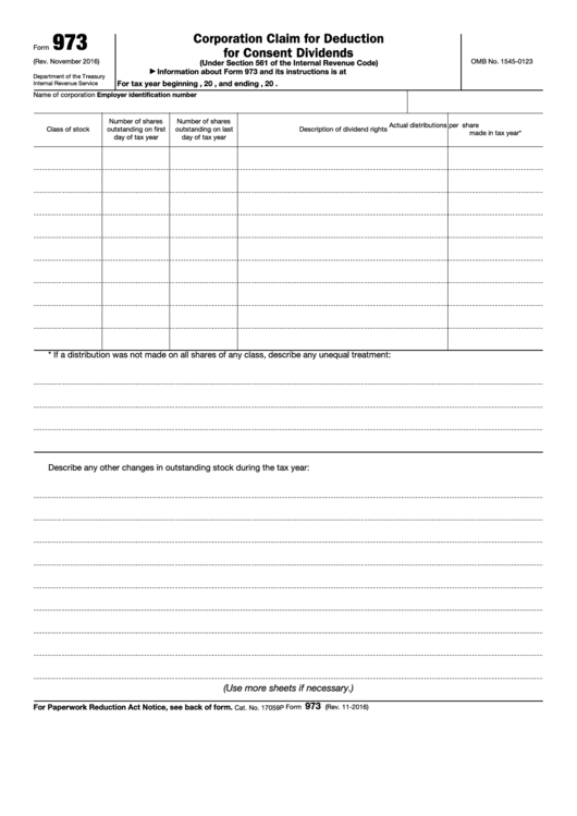 Fillable Form 973 - Corporation Claim For Deduction For Consent Dividends Printable pdf
