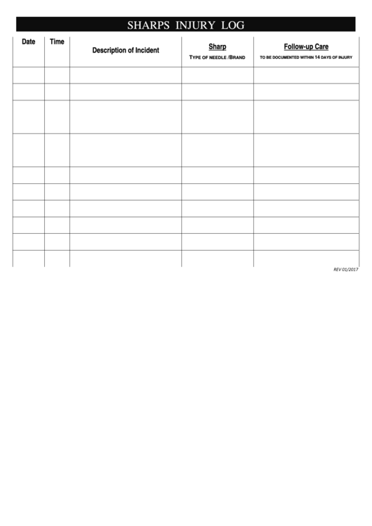 Autoclave log sheet for Sharps injury log template
