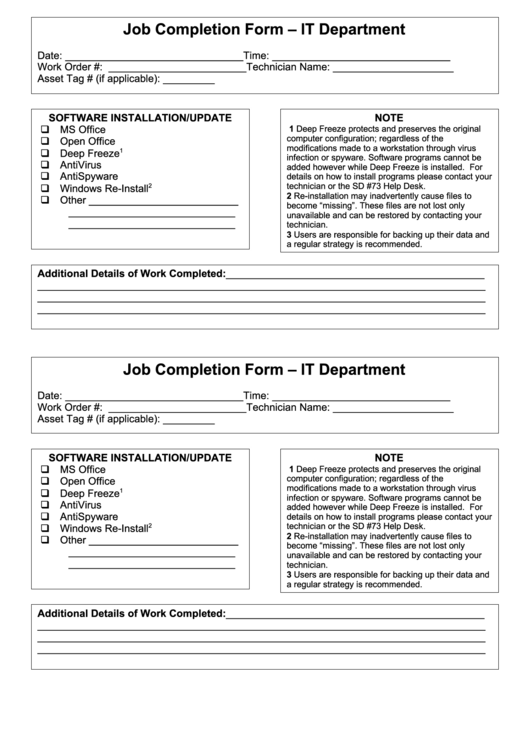 fillable job completion form