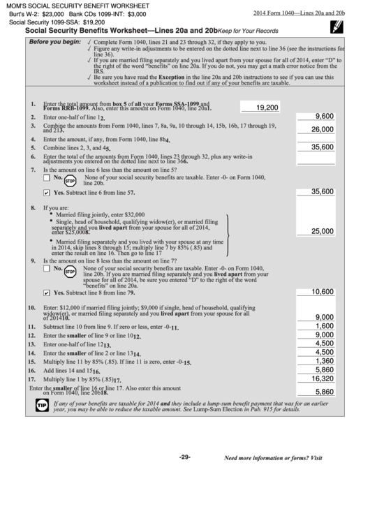 Fillable Form 1040 - Social Security Benefits Worksheet - Lines 20a And 20b Printable pdf