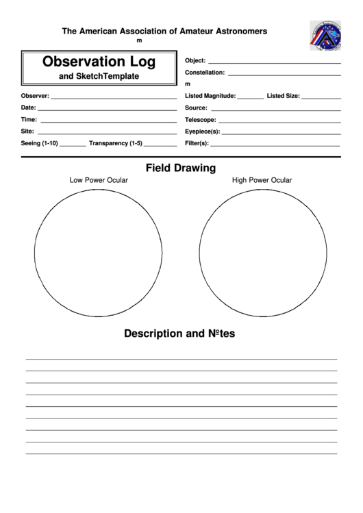 astronomy observation log and field drawing printable pdf