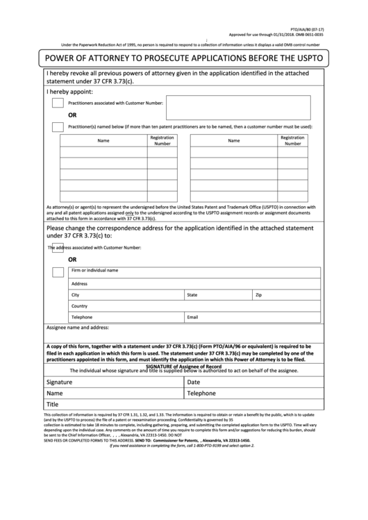 Fillable Form Ptoaia80 Power Of Attorney To Prosecute