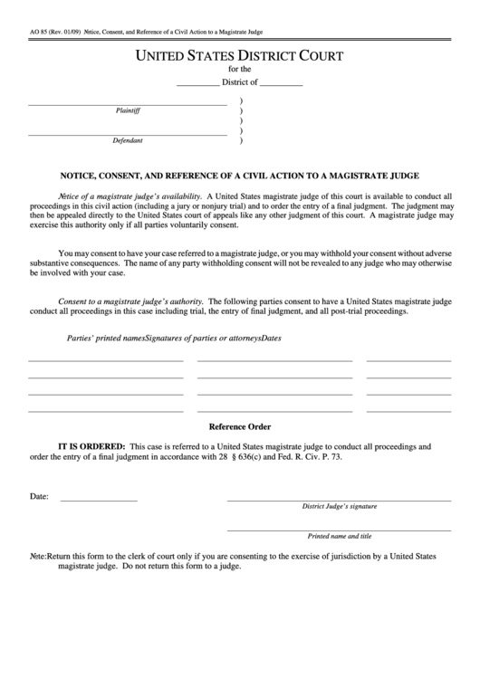 Fillable Form Ao 85 - Notice, Consent, And Reference Of A Civil Action To A Magistrate Judge - United States District Court Printable pdf
