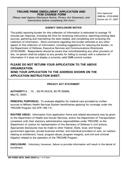 Fillable Dd Form 2876 - Tricare Prime Enrollment Application And Pcm Change Printable pdf