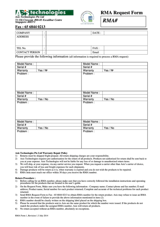 rma form 1 rma request form