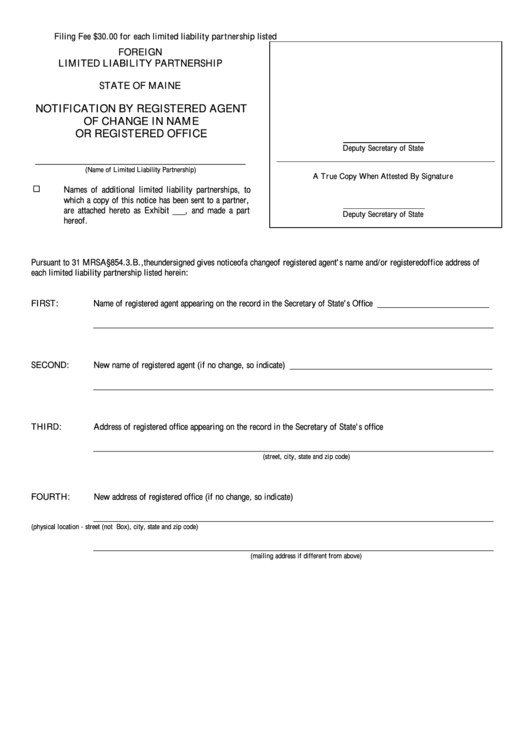 Fillable Form Mllp-12d - Notification By Registered Agent Of Change In Name Or Registered Office - Maine Secretary Of State Printable pdf
