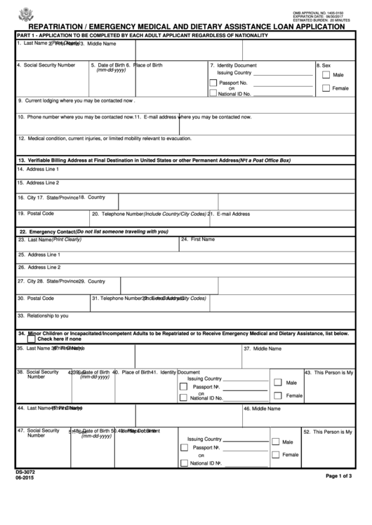Form Ds-3072 - Repatriation / Emergency Medical And Dietary Assistance Loan Application - U.s. Department Of State