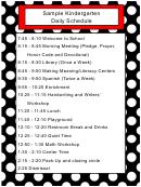 Sample Kindergarten Daily Schedule