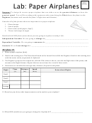 Lab: Paper Airplanes Worksheet