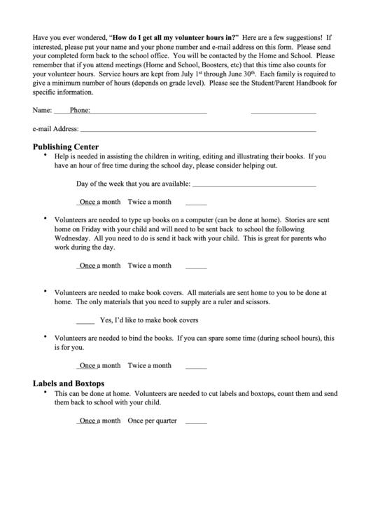 Fillable Volunteer Sign Up Sheet Printable pdf